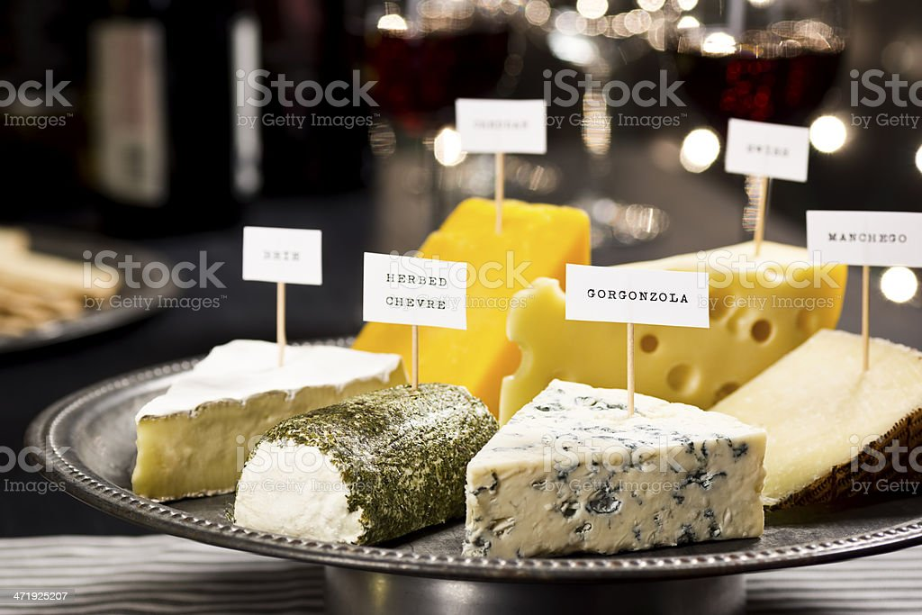 Cheese and Wine Tasting at Holiday Party stock photo