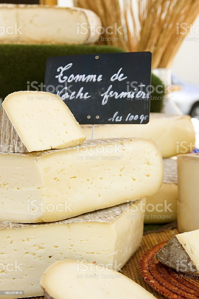 Cheese at the market stock photo