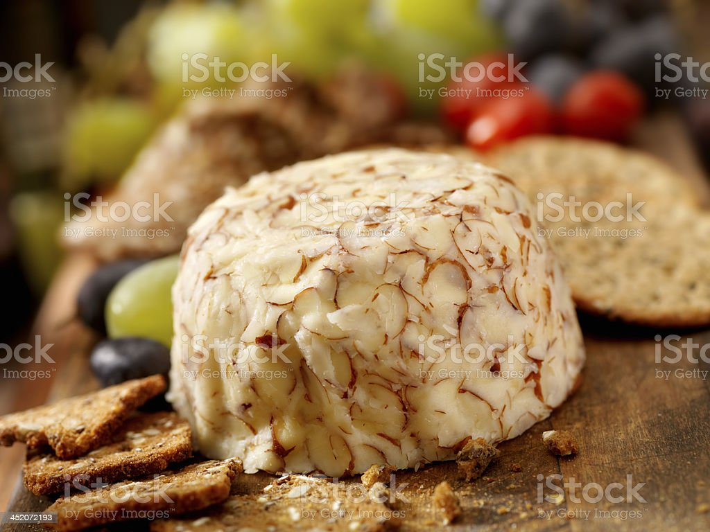 Cheese Ball with Crackers stock photo