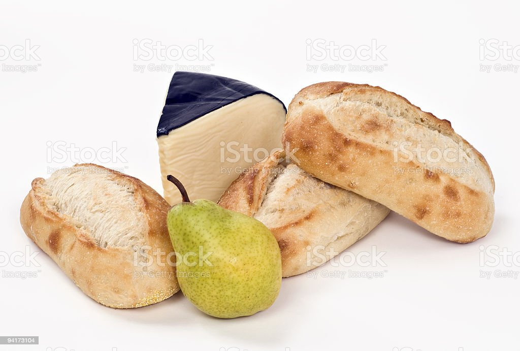 Cheese, bread and fruit royalty-free stock photo