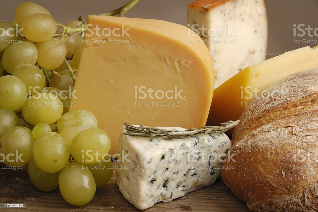 cheese, bread and grapes royalty-free stock photo