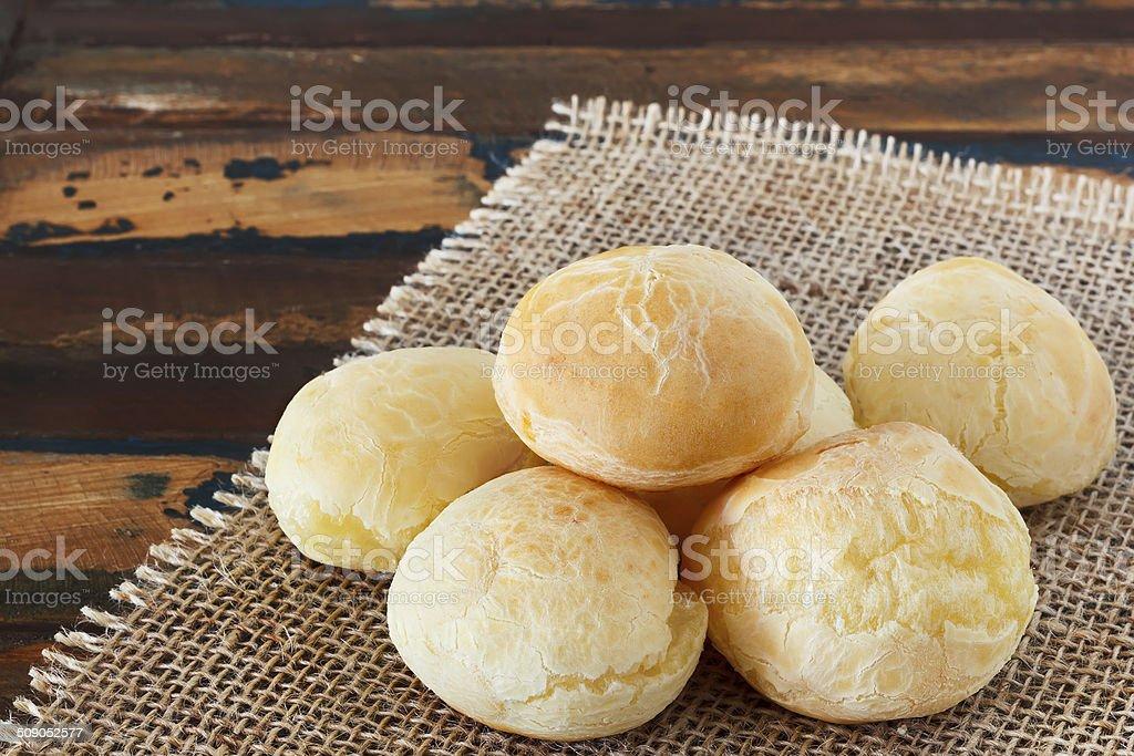 Cheese bread (pao de queijo) brazilian snack on sackcloth stock photo