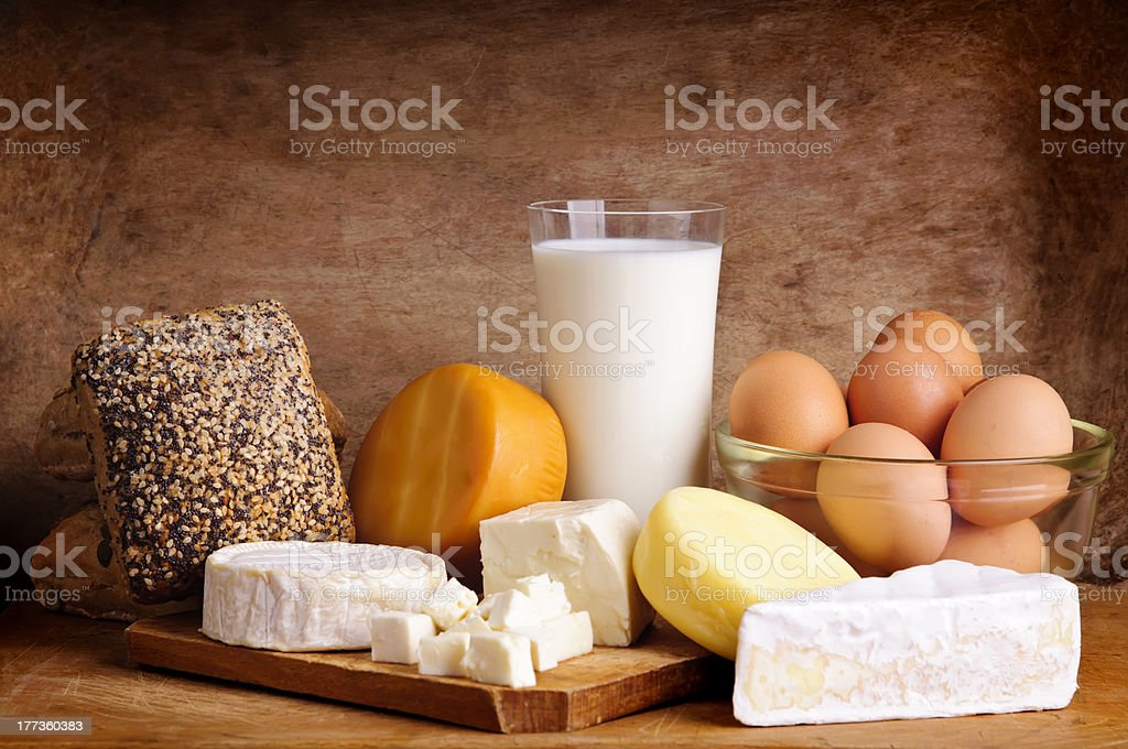 cheese, bread, milk and eggs royalty-free stock photo