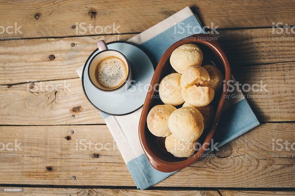 Cheese Bread, Pao de Queijo, coffee stock photo
