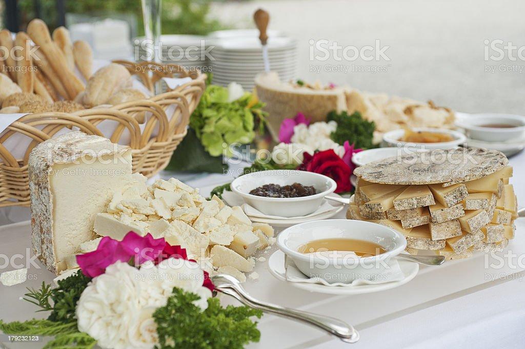 cheese buffet stock photo