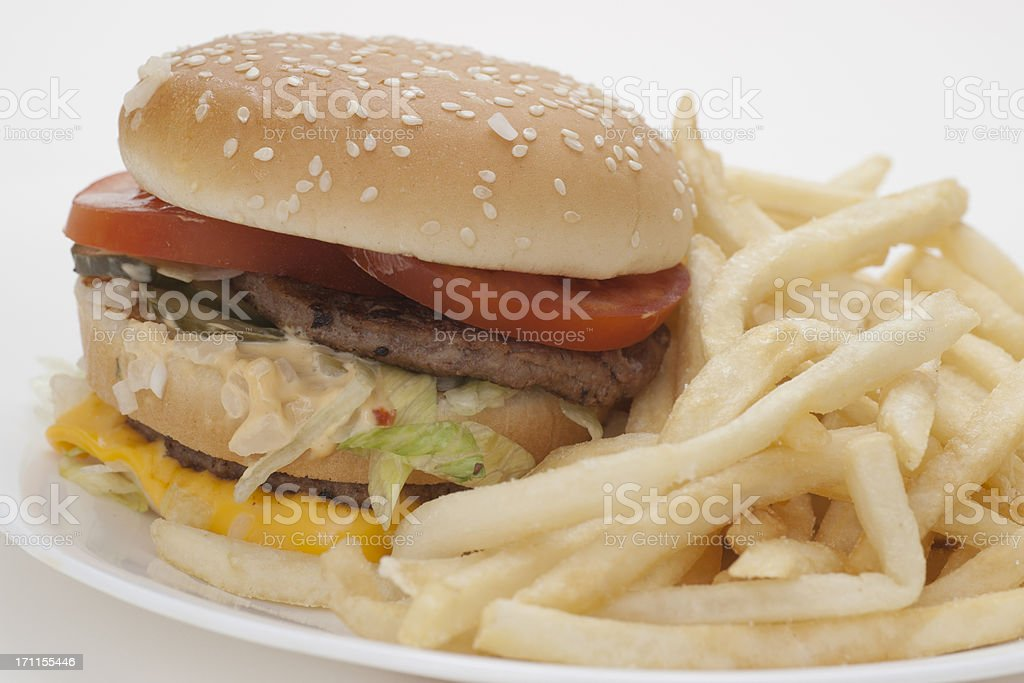 cheese burger and French fries royalty-free stock photo