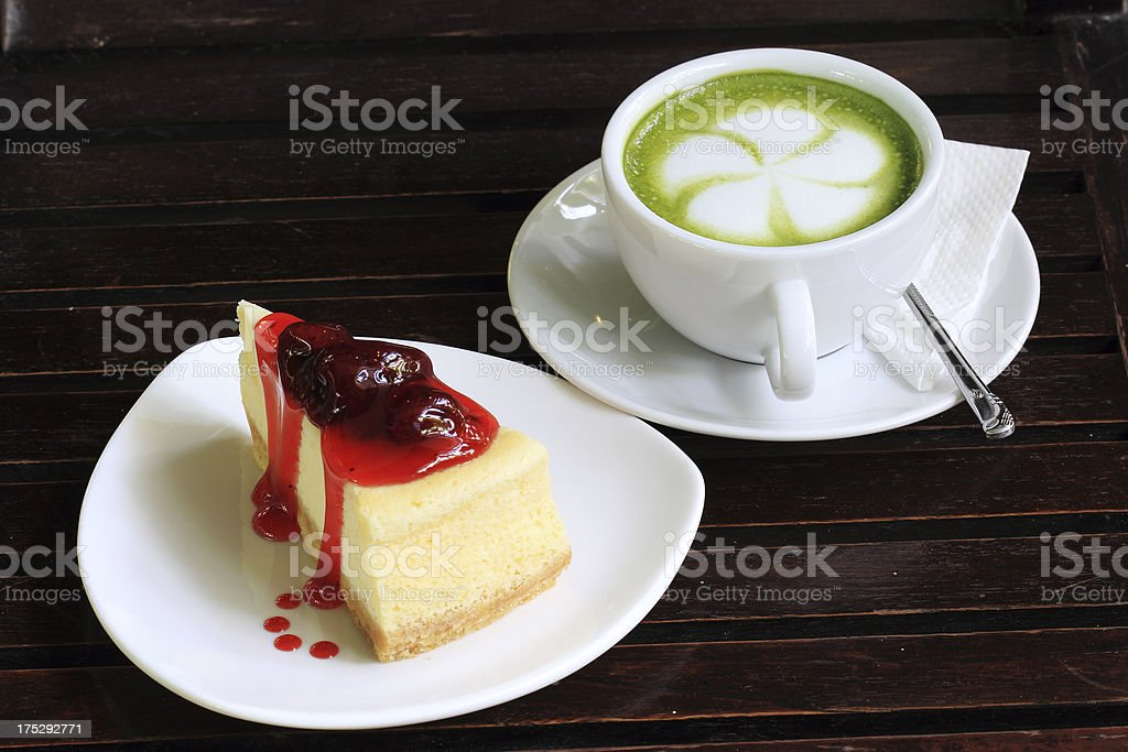 cheese cake and Green tea royalty-free stock photo