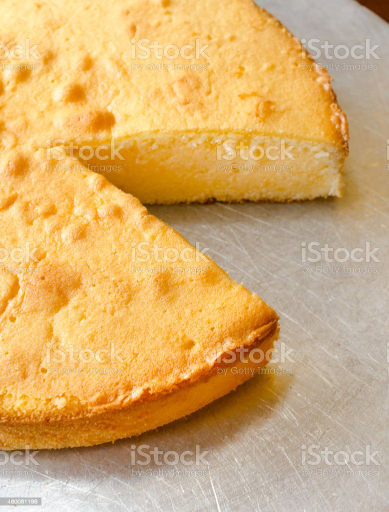 Cheese cake on silver plate stock photo