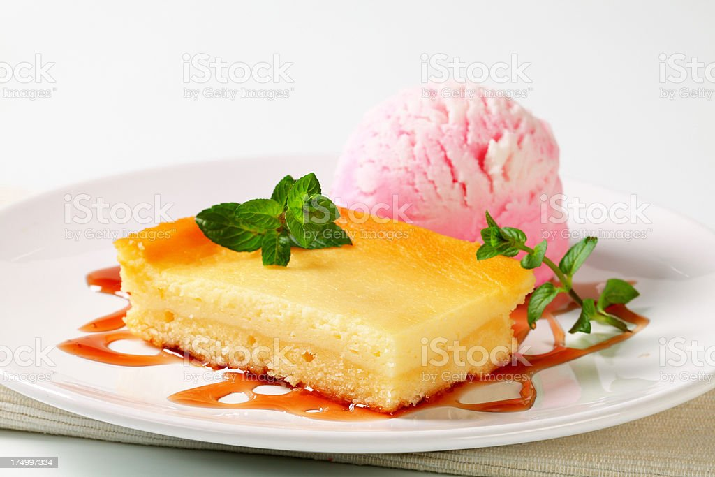 cheese cake with ice cream royalty-free stock photo