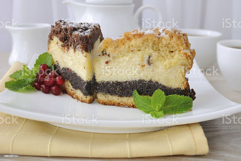 Cheese cake with poppy filling royalty-free stock photo