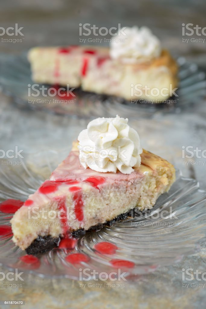 Cheese Cake with Rasberry Sauce stock photo