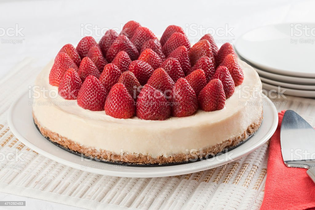 Cheese cake with strawberries royalty-free stock photo