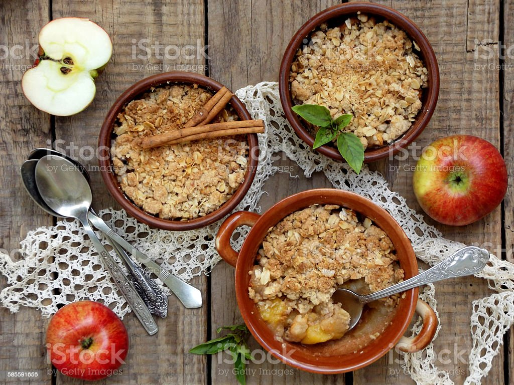 Cheese casserole or crumble with apples and cinnamon stock photo