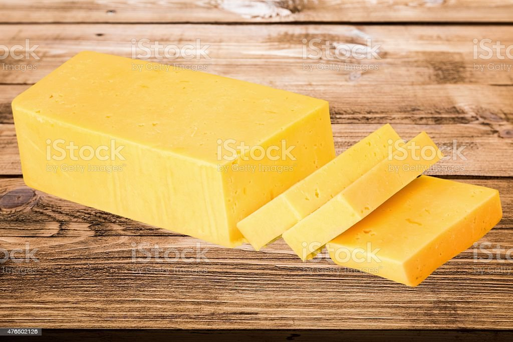 Cheese, Cheddar, Block stock photo