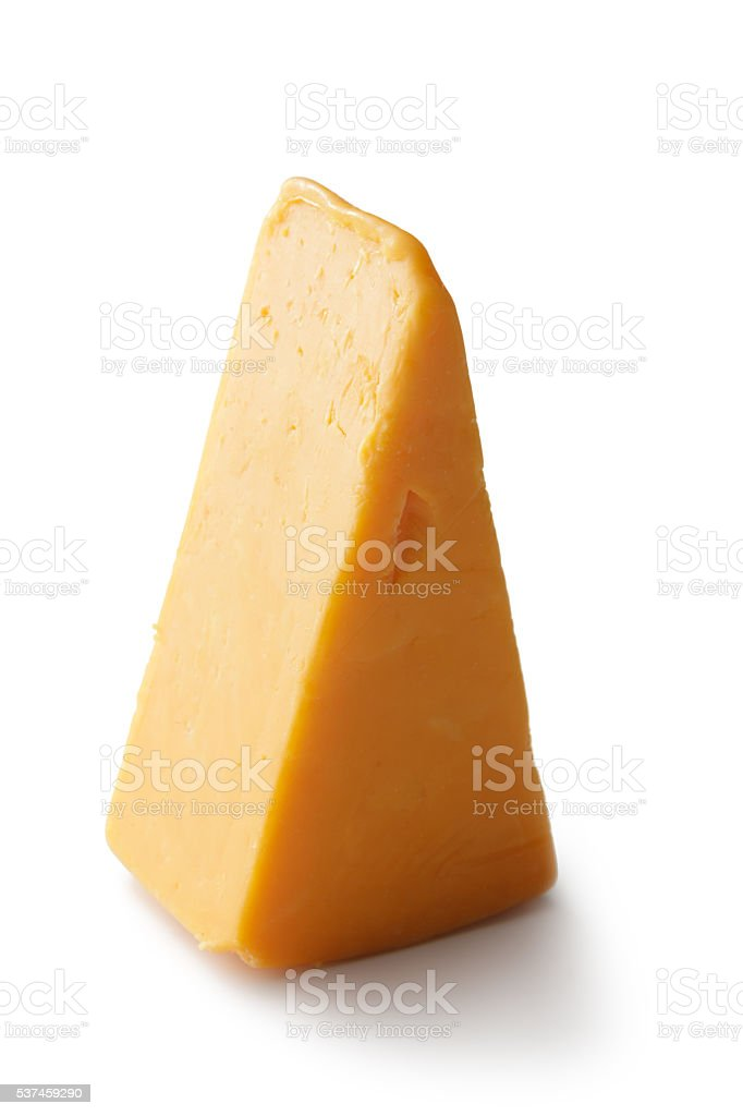 Cheese: Cheddar Cheese Isolated on White Background stock photo