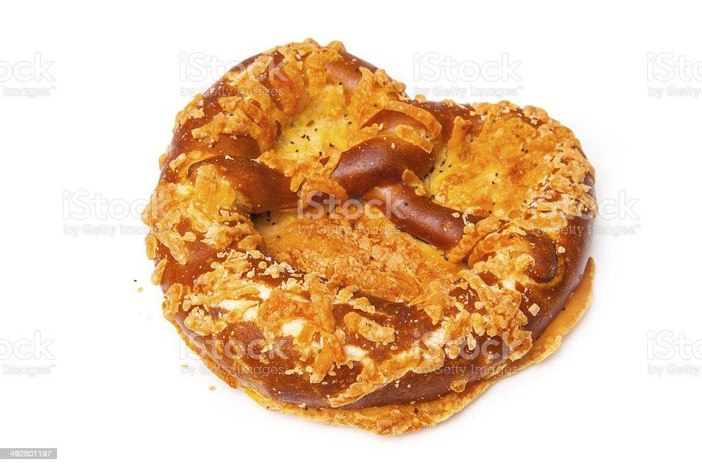 Cheese coated pretzel stock photo