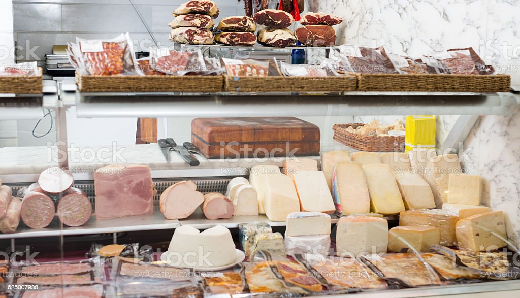 Cheese collection in grocery stock photo