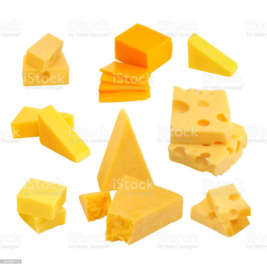 Cheese collection isolated on white background stock photo