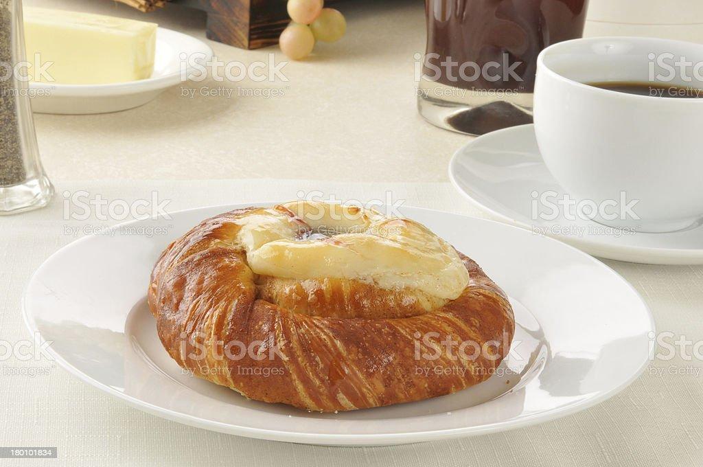 Cheese danish and coffee stock photo