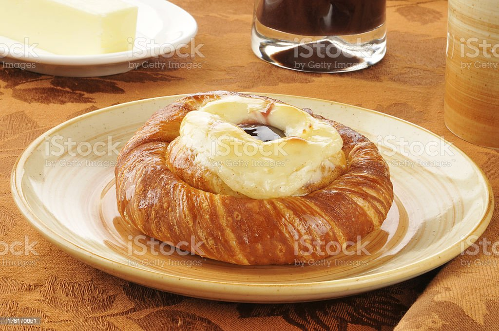 Cheese danish with coffee and juice stock photo