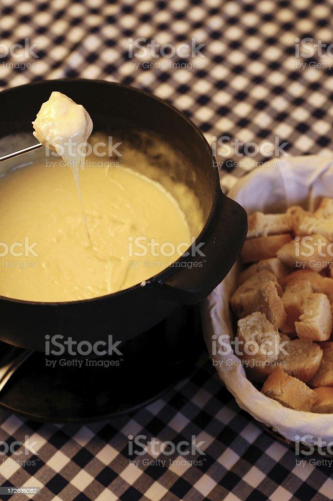 Cheese Fondue and bread stock photo