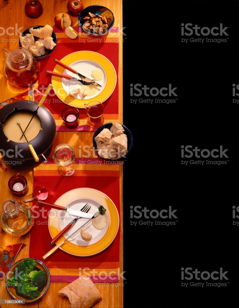 Cheese Fondue Table Setting stock photo
