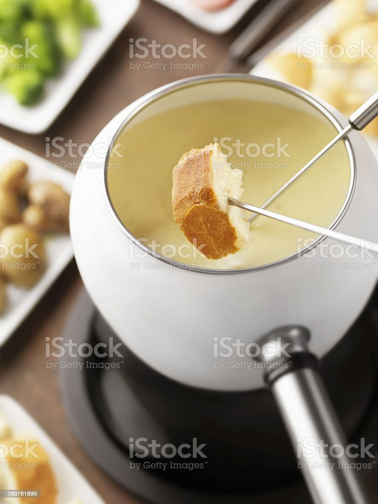 Cheese Fondue with French Bread royalty-free stock photo