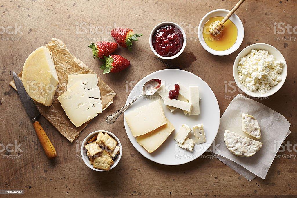 Cheese for breakfast overlook shot stock photo