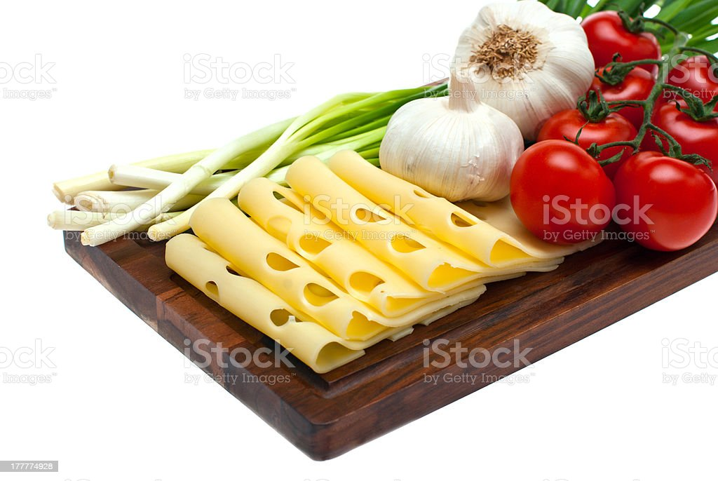 Cheese, garlic, onion. royalty-free stock photo