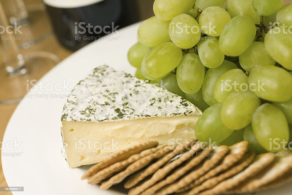 Cheese, Grapes, and Crackers royalty-free stock photo