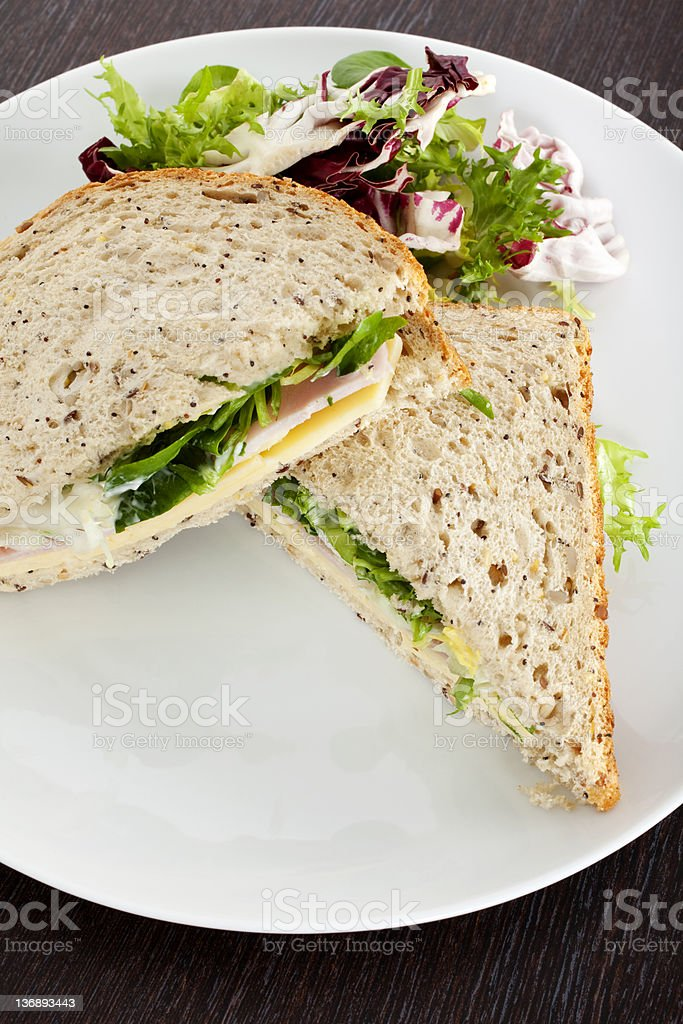 Cheese Ham and Salad Sandwich royalty-free stock photo