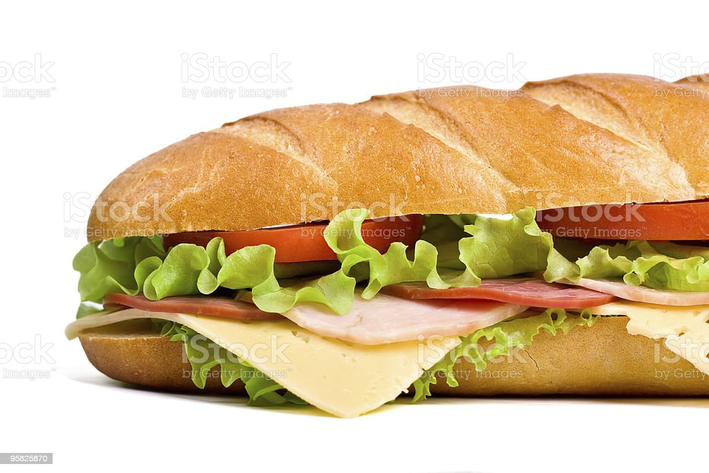 Cheese ham lettuce and tomato baguette royalty-free stock photo