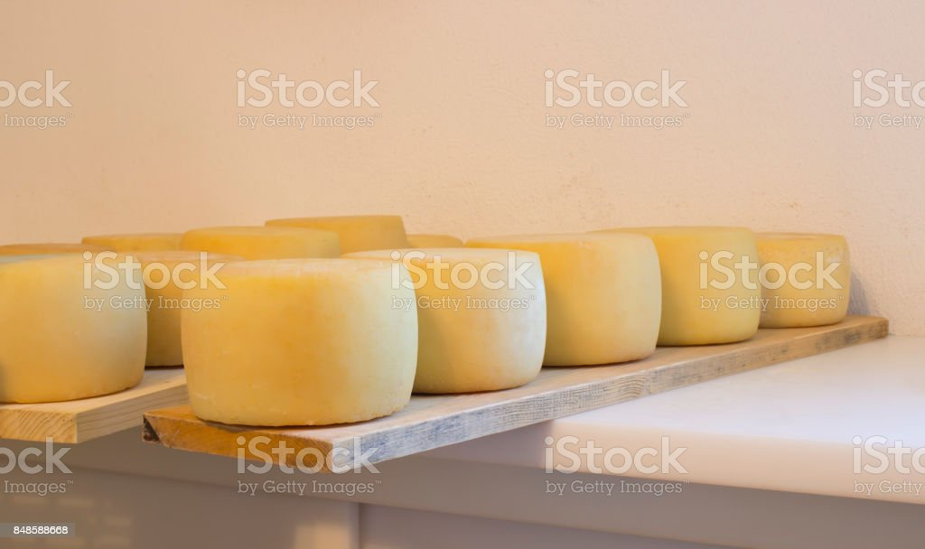 Cheese heads in a storage stock photo