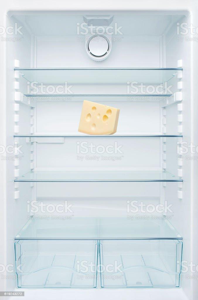 Cheese in an empty fridge stock photo