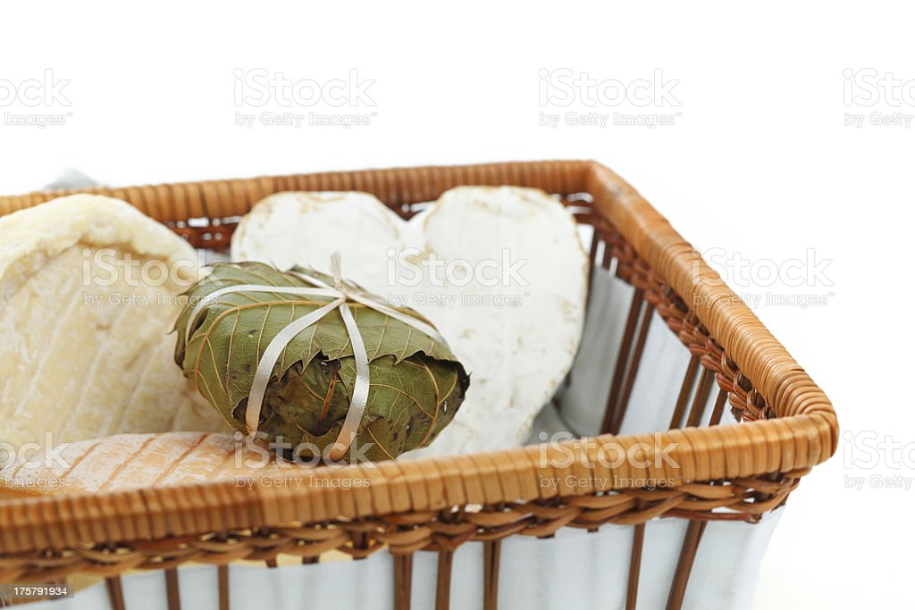 cheese in basket close up royalty-free stock photo