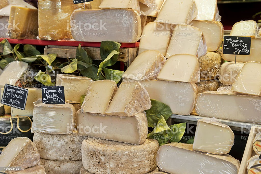 Cheese in many different varieties stock photo