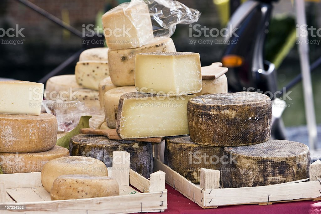 Cheese in Street Market. Color Image stock photo