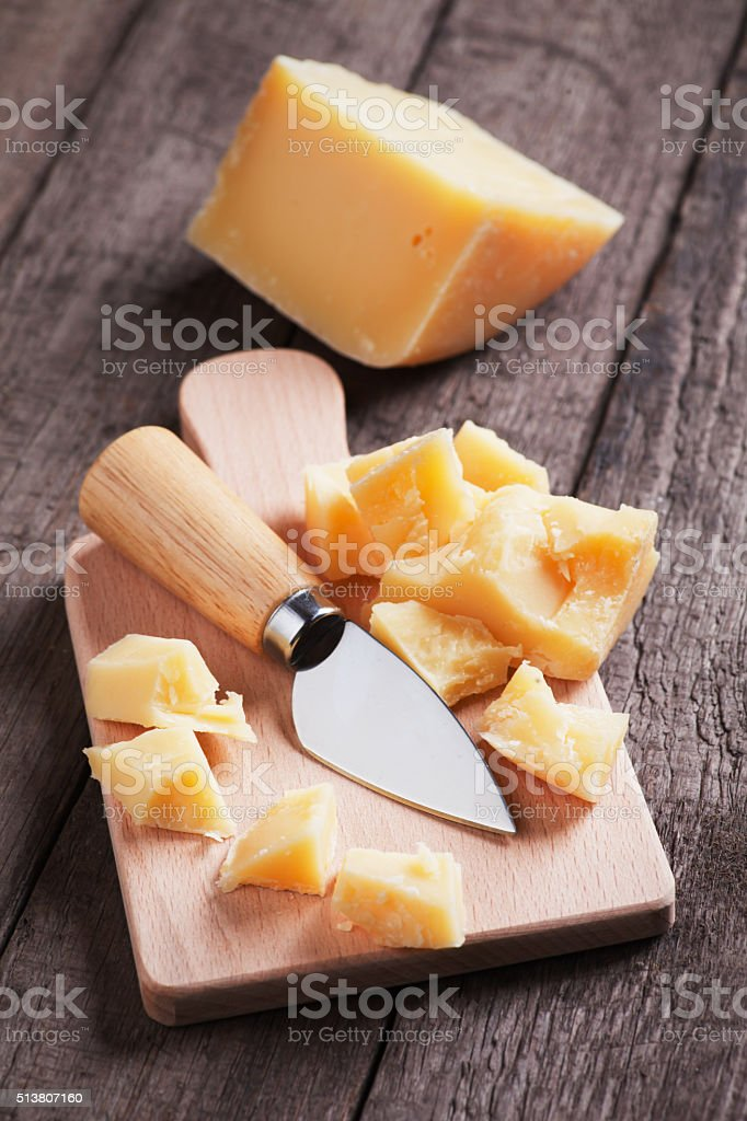 Cheese knife and fork stock photo