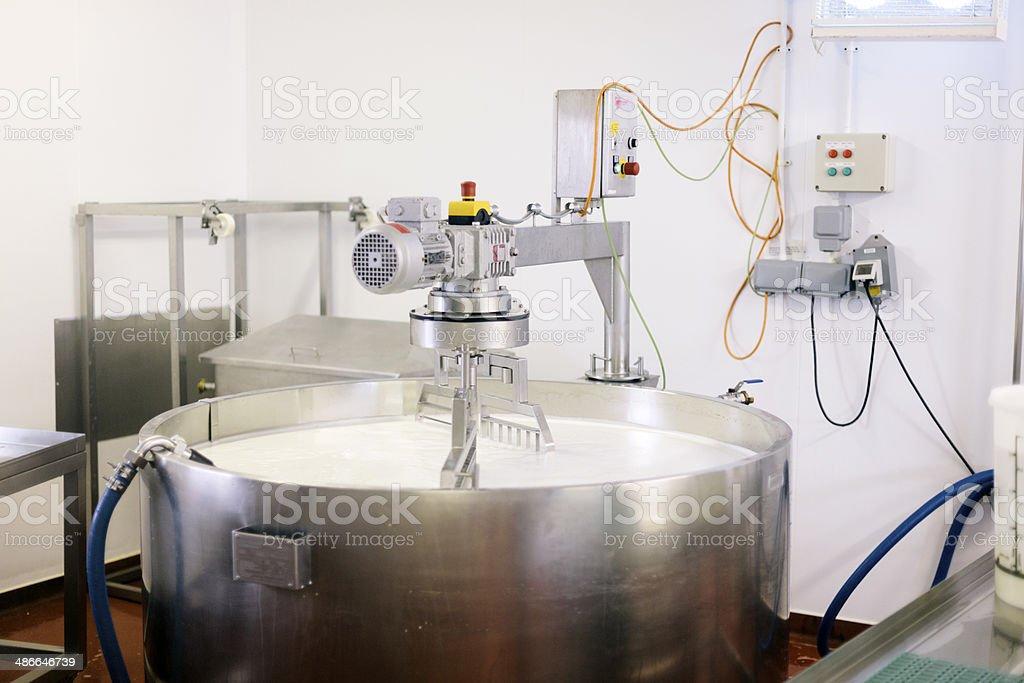Cheese making at a Devon creamery, UK stock photo