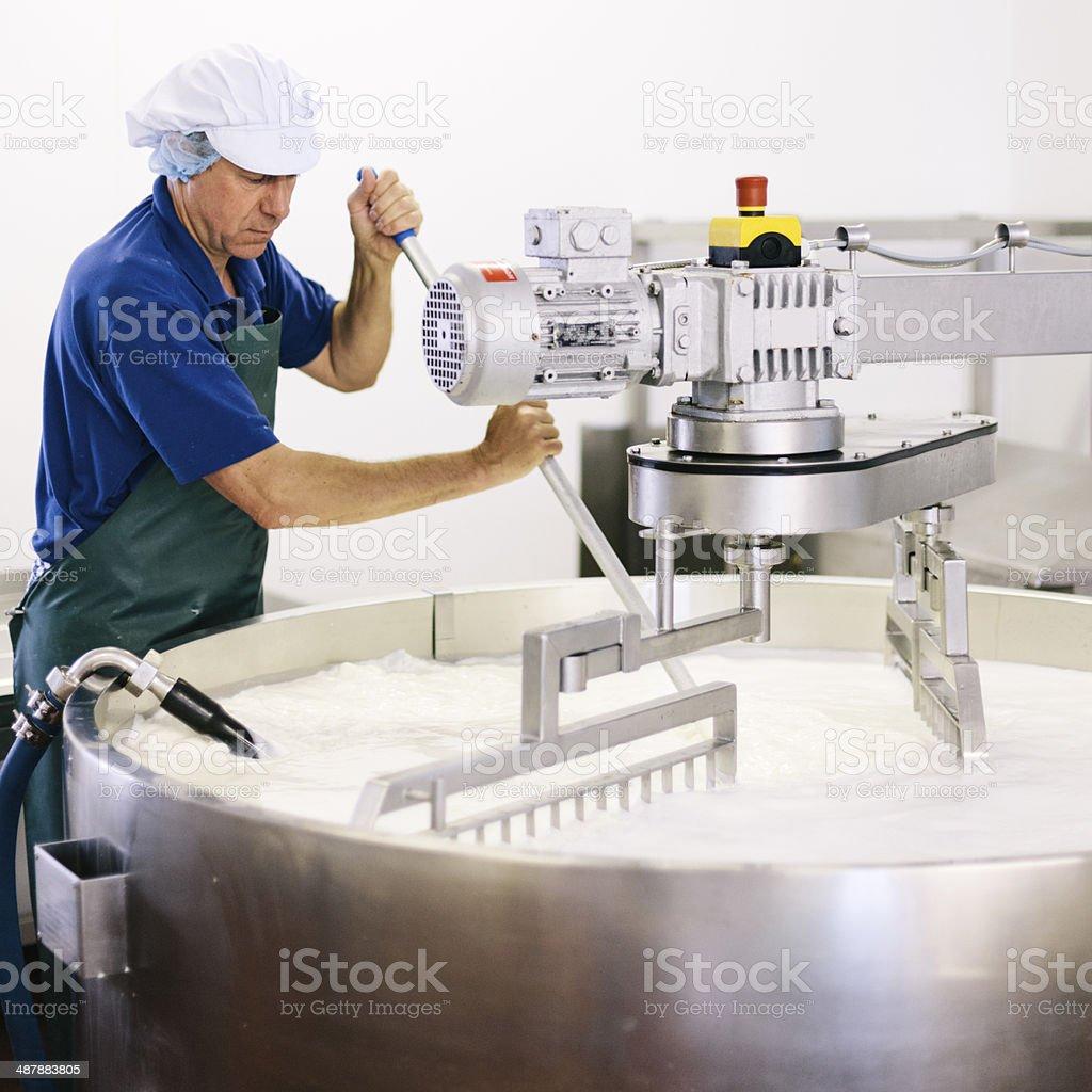 Cheese making stock photo