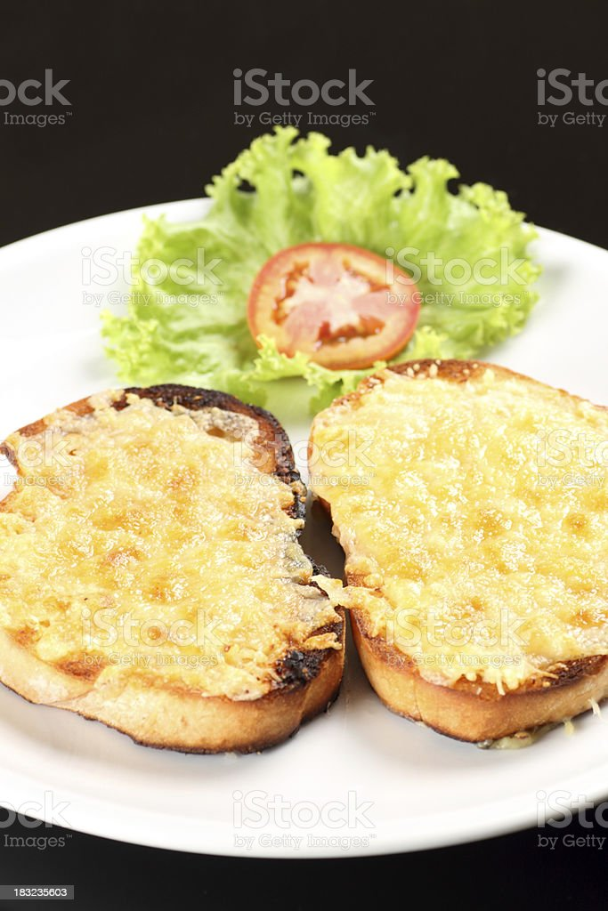 Cheese on toast stock photo