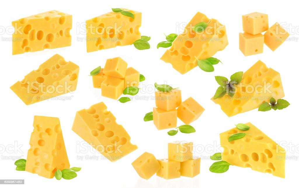 Cheese on white background stock photo