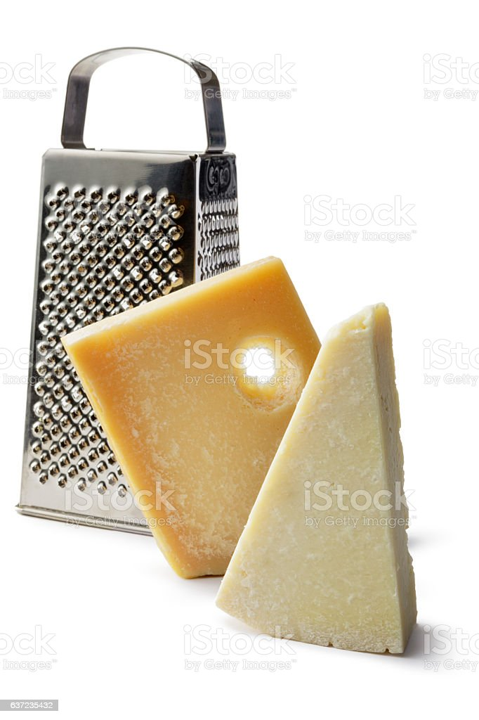 Cheese: Pecorino, Parmesan and Grater Isolated on White Background stock photo