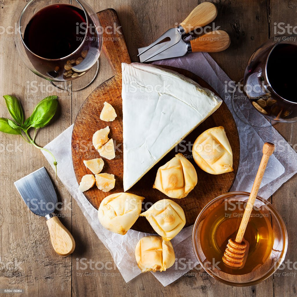 Cheese plate Assortment of various types of cheese stock photo