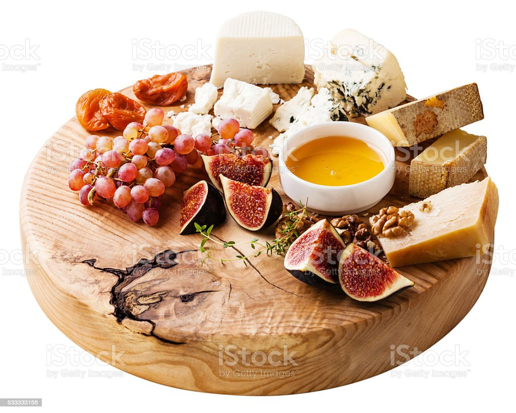 Cheese plate isolated stock photo