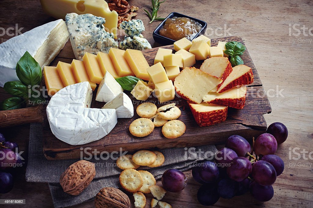 Cheese plate stock photo