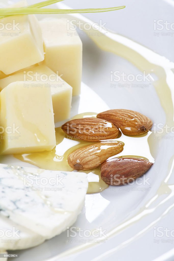 Cheese Plate with Honey royalty-free stock photo