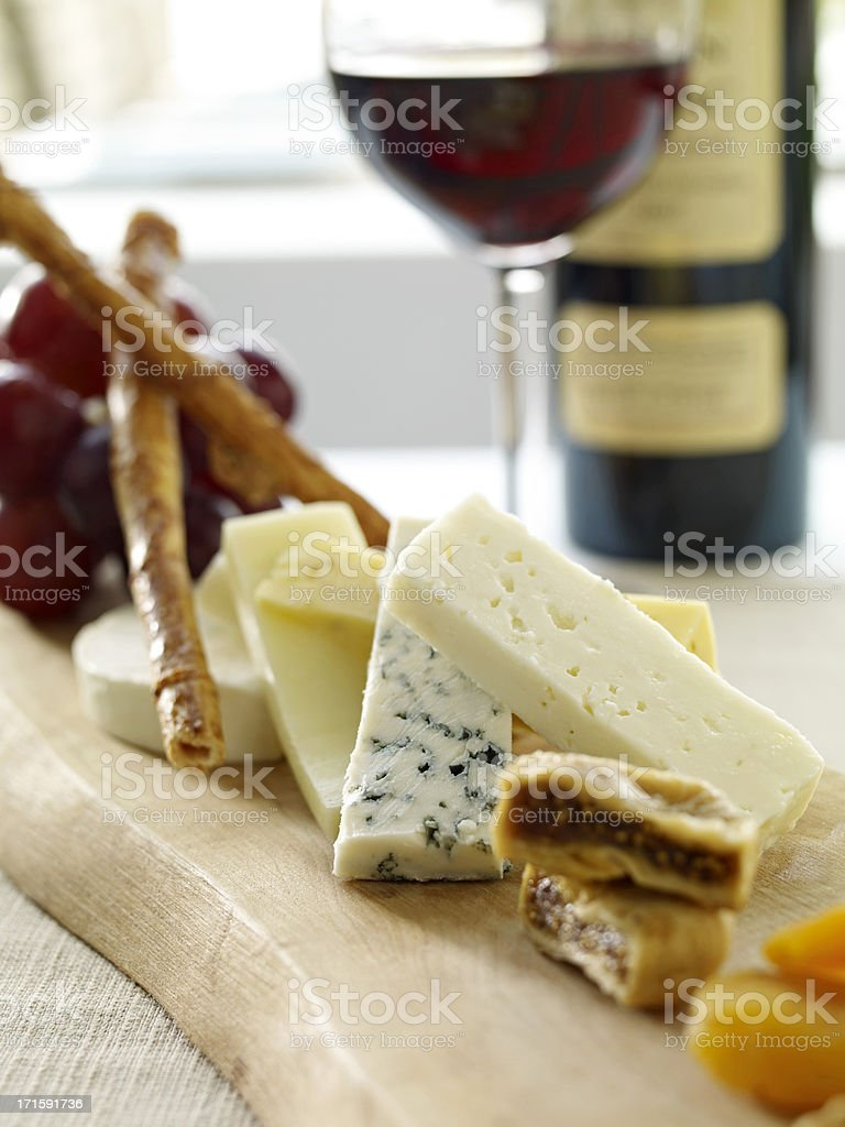 Cheese Plate with Red Wine royalty-free stock photo