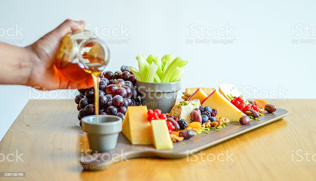 Cheese Platter many kind of cheese stock photo