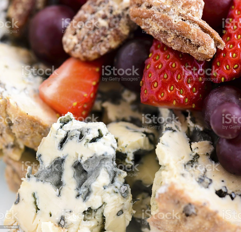 Cheese Platter Tray with Fresh Fruit royalty-free stock photo